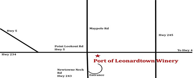 Map to Port of Leonardtown Winery in St Mary's county MD